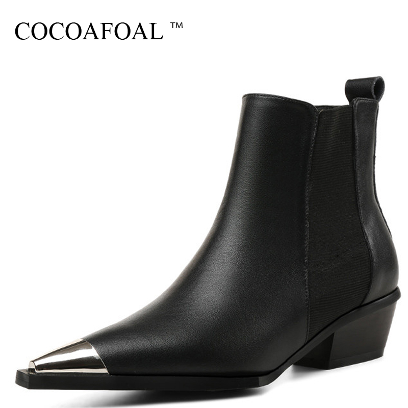 COCOAFOAL Women's Genuine Leather Motorcycle Boots Autumn Winter Shoes Woman Ankle Boots Black Metal Decoration Chelsea Boots autumn winter black gold leather chelsea ankle boots european design man chelsea buckle boots dress metal chain short boots