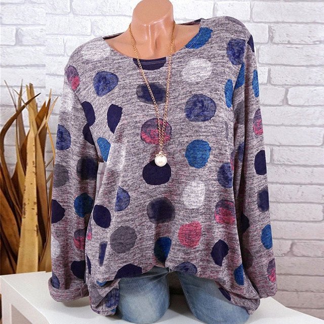 Plus Size Clothing Women Shirts Loose Round Neck Dot Print Tunic Tops Women Long Sleeve Round Neck Blouse blusas femininas  1