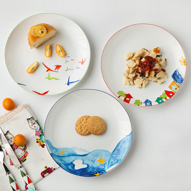 1pc Ocean Design Ceramic Dinner Plate Household Breakfast Plate Porcelain Western Steak Snack Plate Tableware 8  sc 1 st  AliExpress.com & 1pc Ocean Design Ceramic Dinner Plate Household Breakfast Plate ...