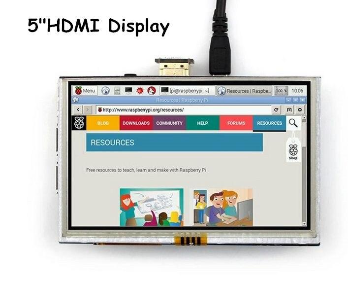 5 pouces TFT HDMI LCD écran tactile module afficheur 800*480 pour Banana Pi/Framboise Pi 3 Modèle B/ 3 B +