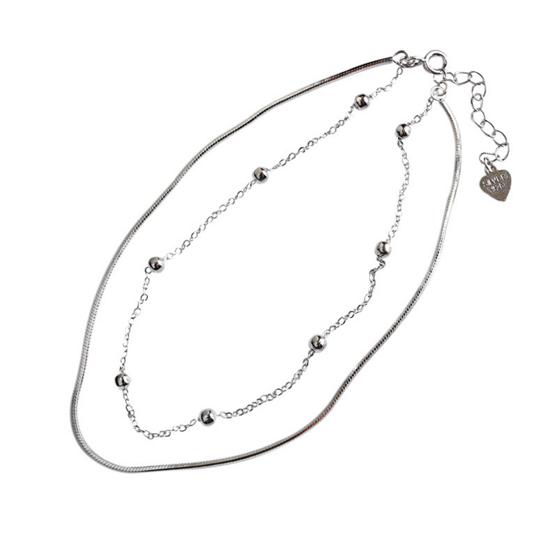 925 Sterling Silver Anklet For Women Simple Round Beads Snake Chain Summer Romantic Beach Accessories Gift Fashion Jewelry