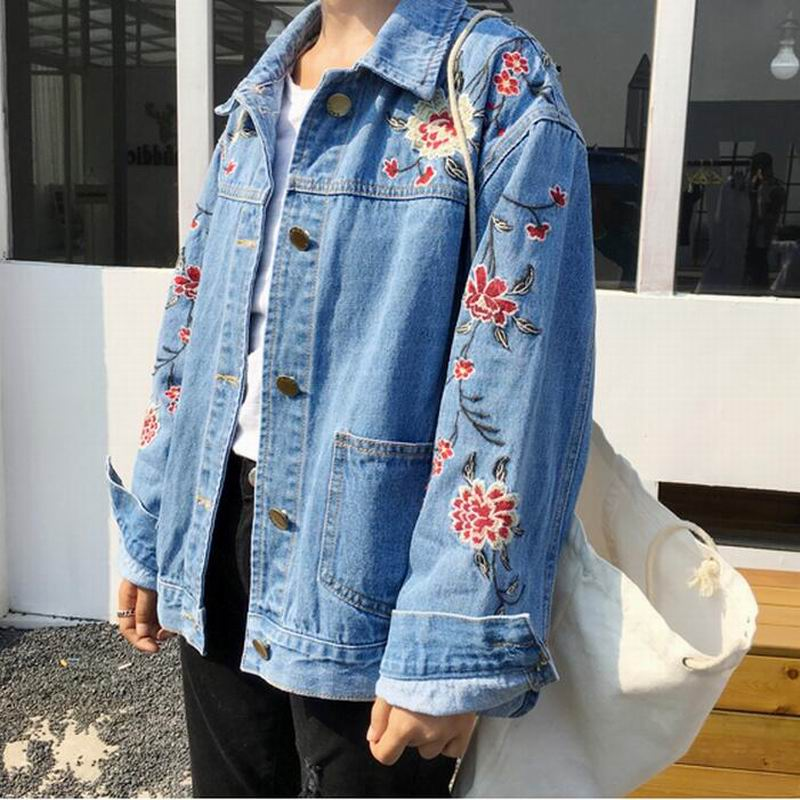 mori girl embroidery oversized srping moto jean jacket big. Black Bedroom Furniture Sets. Home Design Ideas