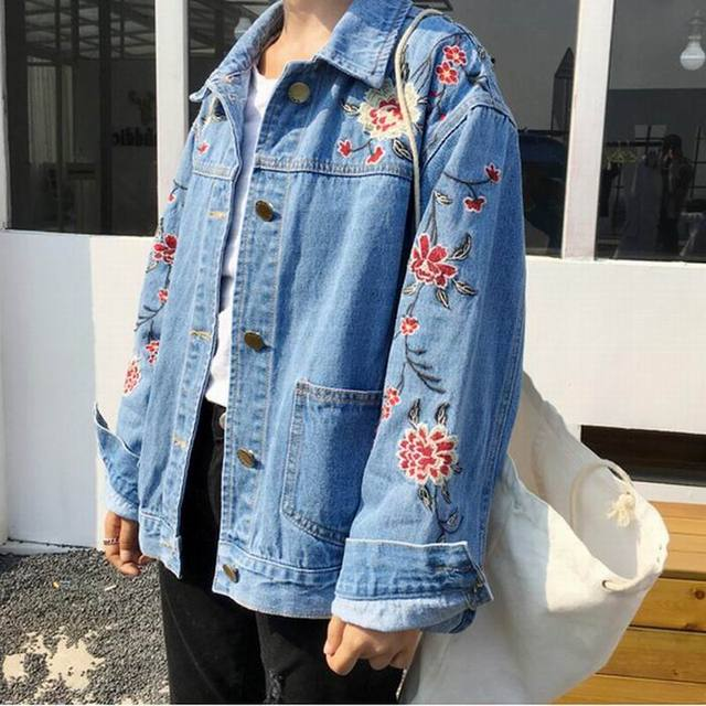 2e384fe4327 Mori Girl Embroidery Oversized Srping Moto Jean Jacket Big Size Women Denim  Jackets Plus Size Ladies Blouson Bombers Femme 5Xl