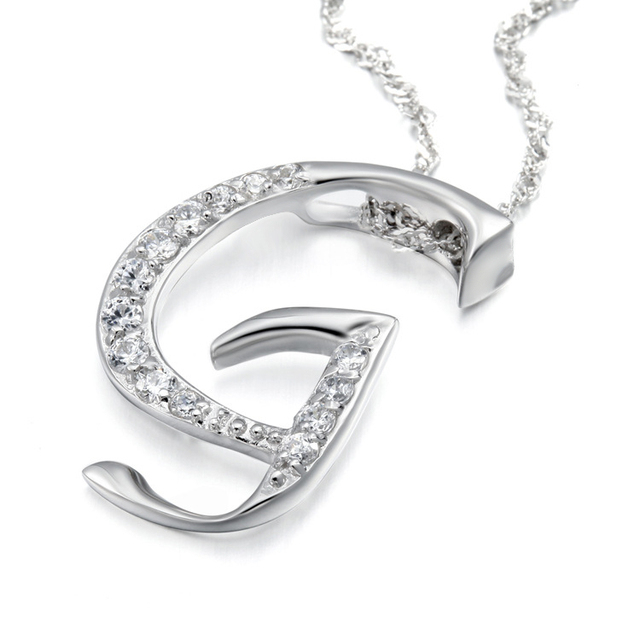 10pcslot fashion simple style noble crystal letter g pendant 10pcslot fashion simple style noble crystal letter g pendant necklace with clavicle chain for aloadofball Images
