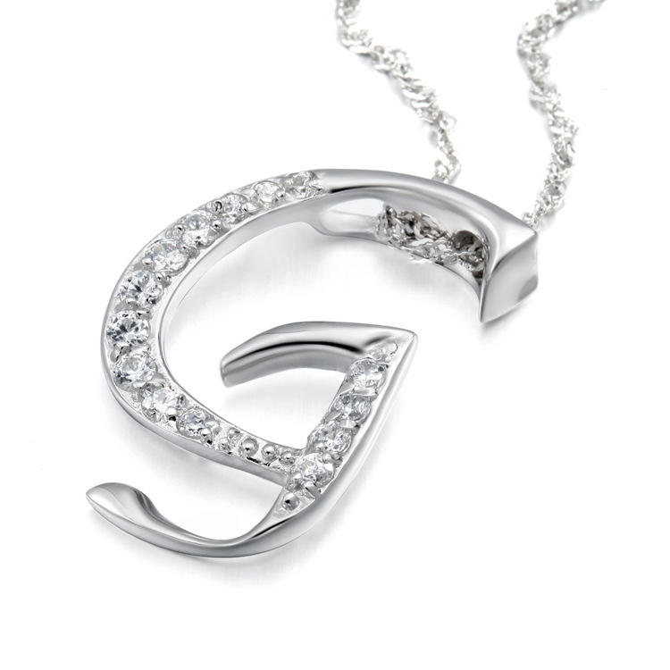 10pcs/lot Fashion Simple Style Noble Crystal Letter G Pendant Necklace with Clavicle Chain for Girlfriend