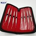 Alta qualidade Dental curetas Gracey Conjunto de 8 Cálculo Scaler Periodontal scaler dental Aço Inoxidável tool kit de limpeza dos dentes