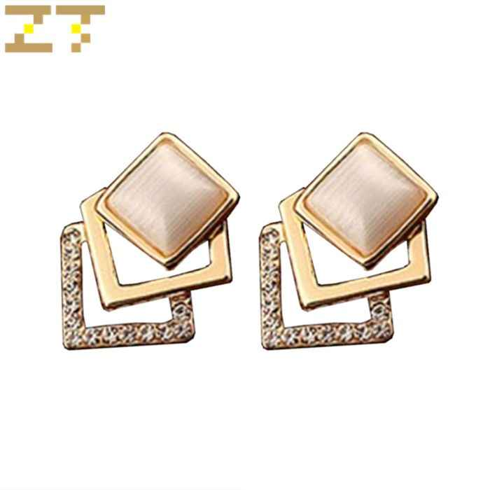 Hot Sale Fashion Three Layers Geometric Square Opal Earrings Gold Metal Crystal Stud Earring for Women Jewelry Brincos Oorbellen