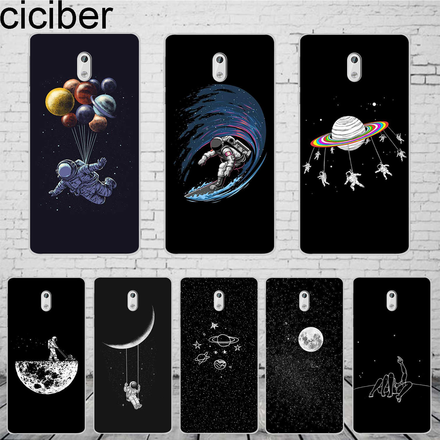 ciciber Space Moon Astronaut Coque For Nokia 8 7 7.1 6 6.1 5 5.1 3 3.1 2.1 Plus Phone case For Nokia X7 X6 X5 X3 Cover Soft TPU