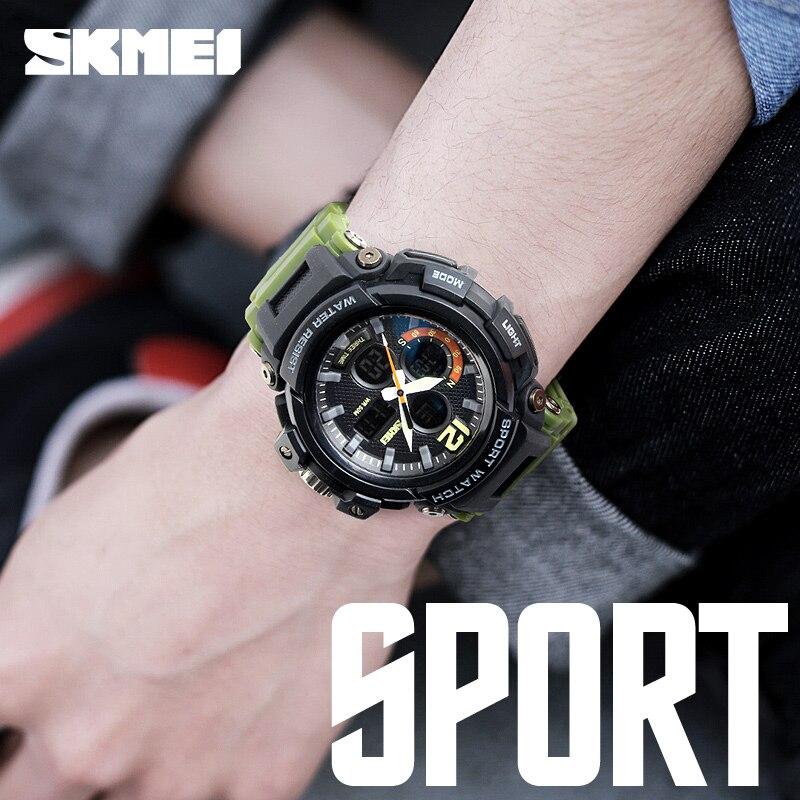 SKMEI 2018 Mężczyźni Wielofunkcyjne LED kwarcowe cyfrowe zegarki 3 - Męskie zegarki - Zdjęcie 2