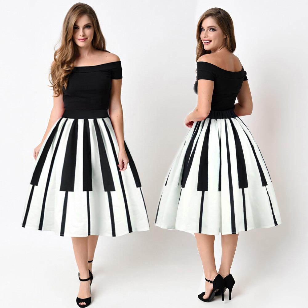 Womail Women Skirt Summer Fashion Piano Keys Printed Skirt High Waist Thin Skirt Fancy Pattern Skirt Daily 2019 Dropship F8