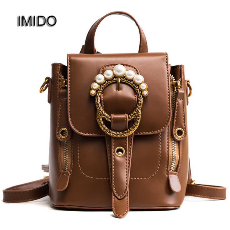 IMIDO 2018 New Mini Women Backpacks Ladies Travel Bags PU Leather Backpack Small Style Shoulder Bag School Backbag bolsas SLD090