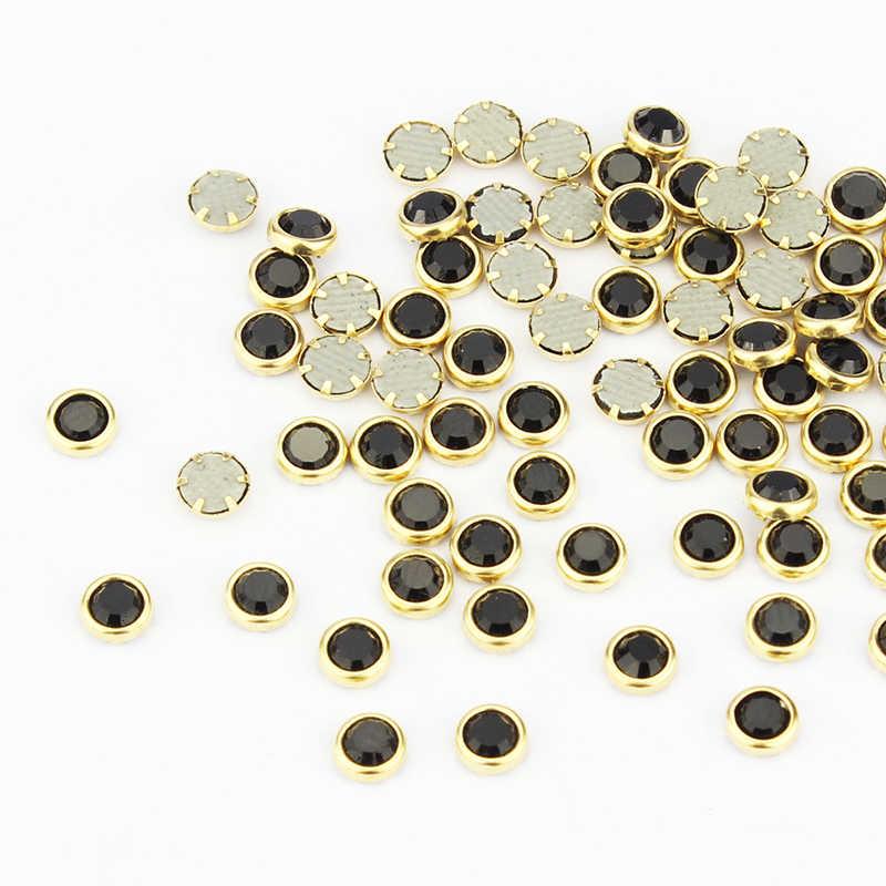 Blueness 100 pcs Black Clear Charms 3D Nail Art กาวอุปกรณ์เสริม Gold Slice สำหรับเล็บเล็บ PJ335
