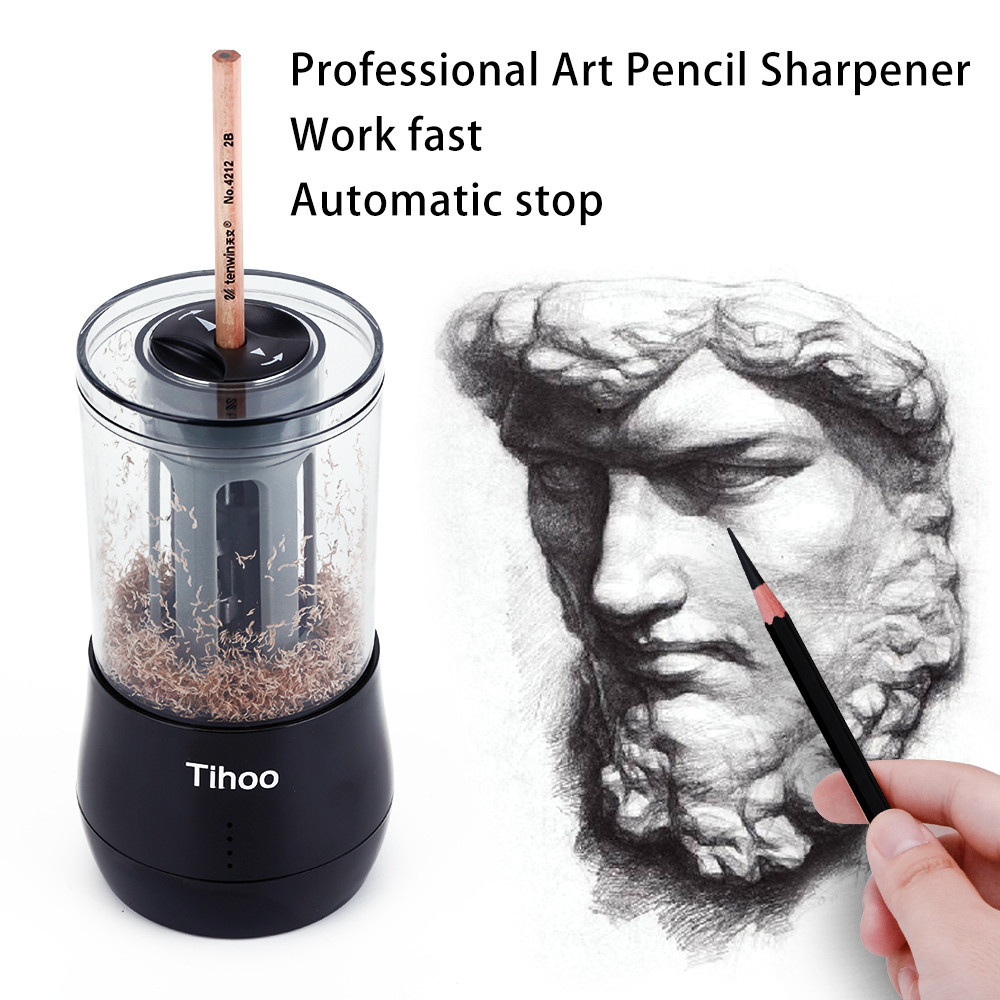 Tihoo Multifunction Electric Pencil Sharpener Dual Purpose Automatic Stop Pencil Electronic Sharpener for Art Learning Sketch