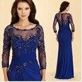Nova Chegada Vestido de madrinha 2016 Azul Marinho Elegante Luva Dos Três Quartos Da Sereia Apliques O-pescoço Mãe dos Vestidos de Noiva