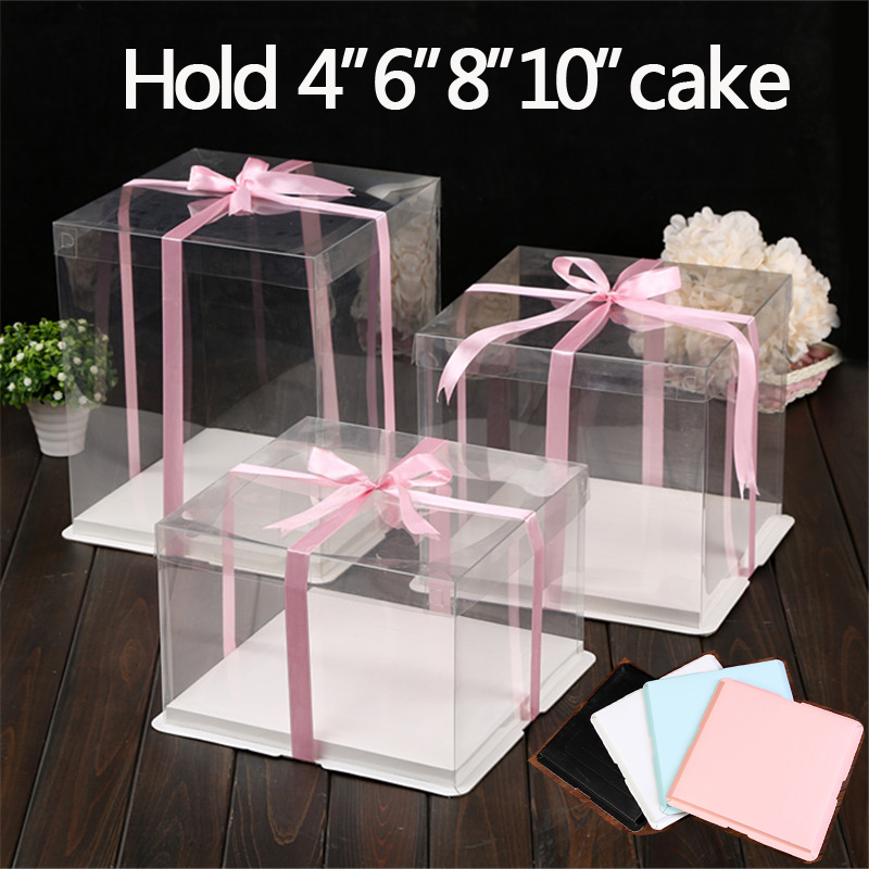 4 Set/lot 6/8/10 Inch Clear Plastic Cake Holder Decorating Supplies Paper Cake Box Bakery Decoration Display Containers Boards