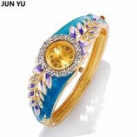 JUNYU FreeShipping 2016 Hot 18K Gold Women Luxury Colorful Abstract Enamel Paint Crystal Rhinestone Leaf Bracelet