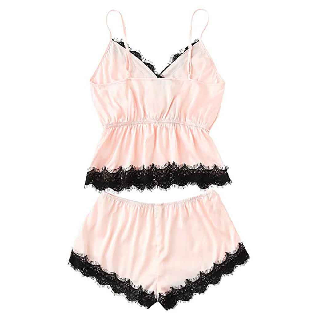 Fashion Girls Cute Lace Embroidered Silk sexy lingerie.sexy underwear satin  And Shorts  Set lounge underwear set  #7
