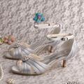 Wedopus MW508 das Mulheres Festa À Noite Peep Toe Sapatos de Salto Baixo de Cetim Plissado Nupcial Do Casamento de Prata