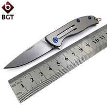 BGT Small Folding Knife Camping Hunting Tactical Survival Pocket Knives EDC Outdoor Tools Key Chain D2 Blade Titanium Handle bgt tactical combat folding knives d2 blade g10 handle pocket survival camping knife outdoor hiking hunting rescue edc tools