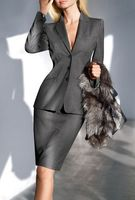 Charcoal Office Skirt Suit Women OL Style Long Sleeve Ruffled Spring Work Wear Business Career Blazer & Skirt Set B335
