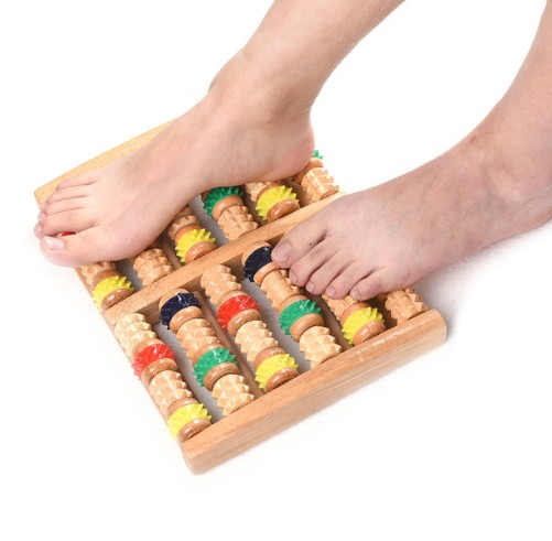 Wooden Roller Foot Massager Stress Relief Health Therapy Relax Massage Tools Foot Health Care b12 foot 5 row wooden roll foot massager wooden roller stress relief body massage feet relax spa wood massager for foot care