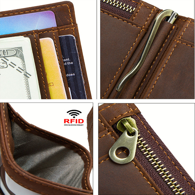 CONTACT'S men RFID Genuine Leather Money Clip Card Wallet Crazy Horse Thin Bifold cash clamp cash holder male Slim RFID Purse 5