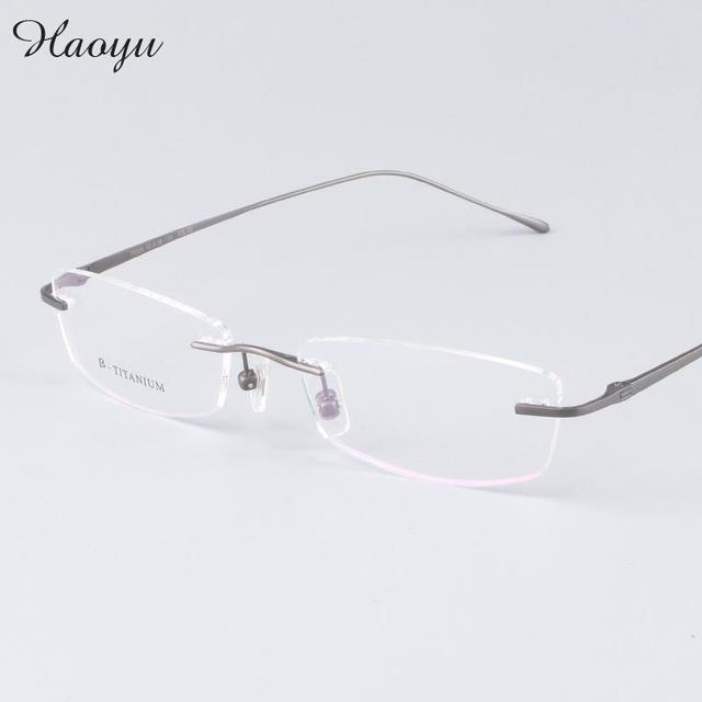 haoyu classic men ultralight titanium business frameless eyeglasses frame titanium rimless glasses frames myopia
