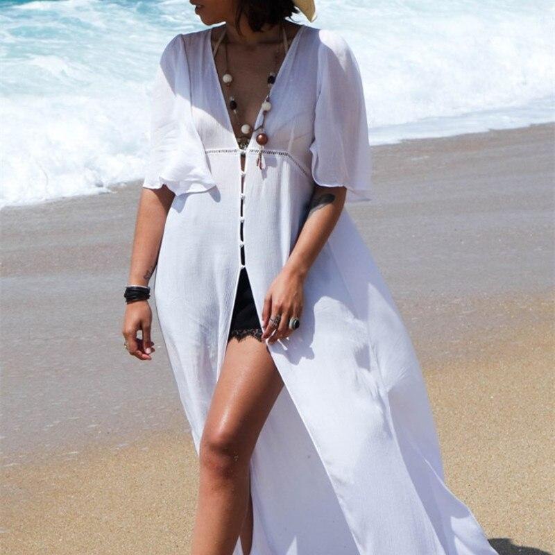 Summer Dresses Swimsuits Women 2019 Cover Up Bikini Beach Dress Swimwear Female New Chiffon Knit Cloth Belt Clasp Smock Outside