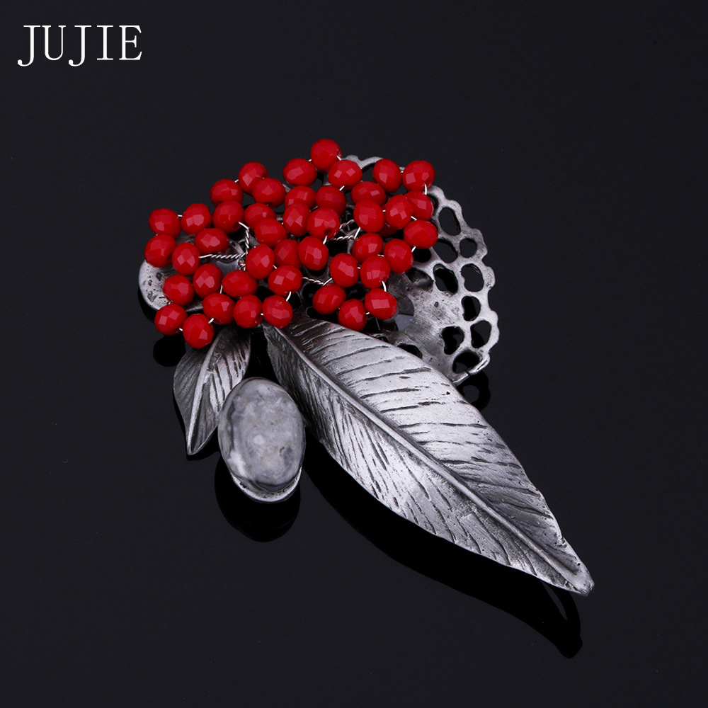 Rhinestone Brooches For Women 2016 Fashion Red Flower Brooch For Wedding Bouquets Lapel Pins Brooches For Scarves Gray Stone
