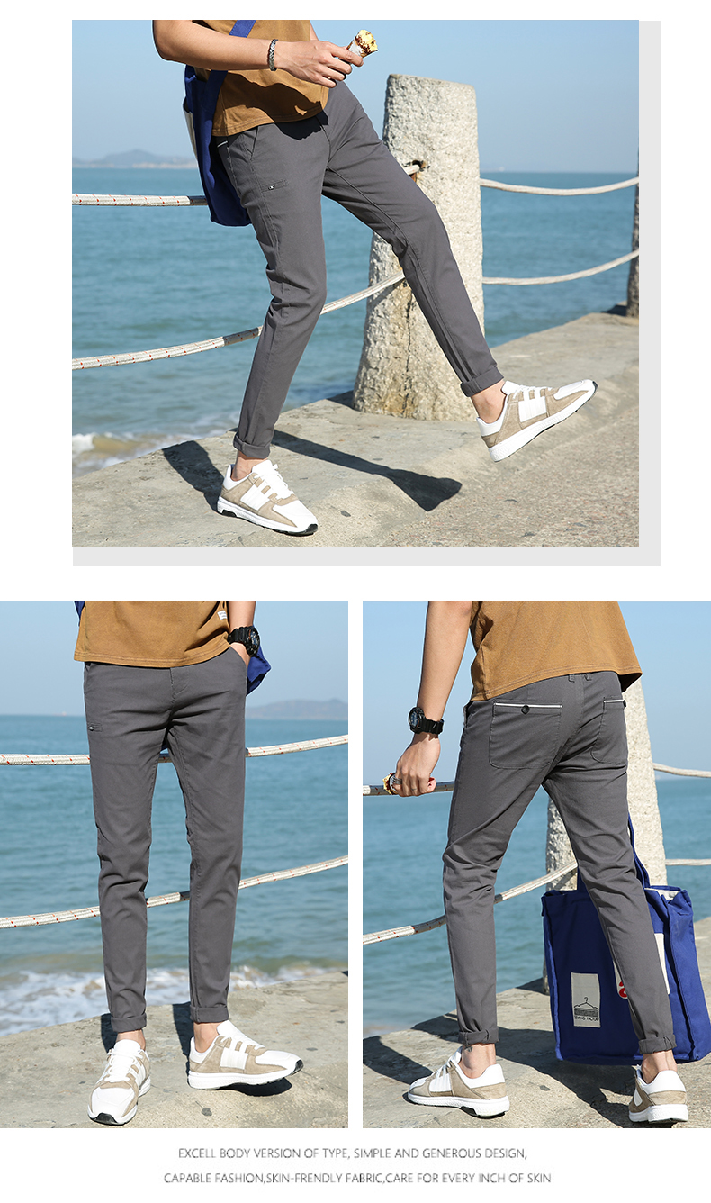 Casual Men Cotton Slim Fit Chinos Pants 6
