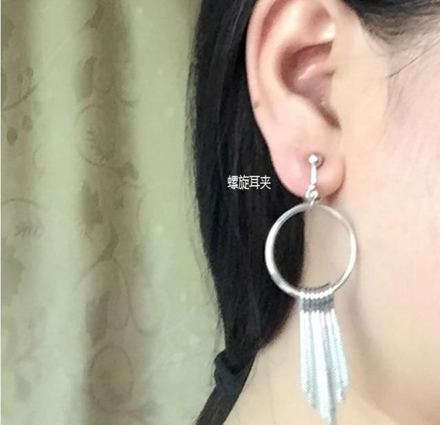 No Pierced Ear Clip Long Circle Tel On Earrings For Non Ears