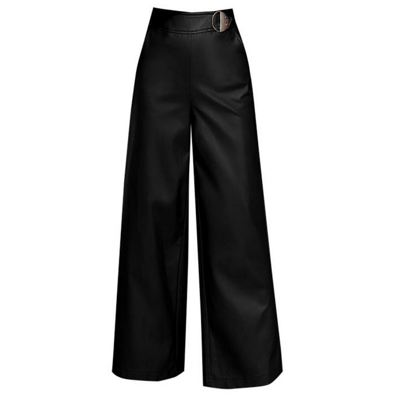 pu leather   pants   High waist   Wide     leg     pants     pants   straight trousers