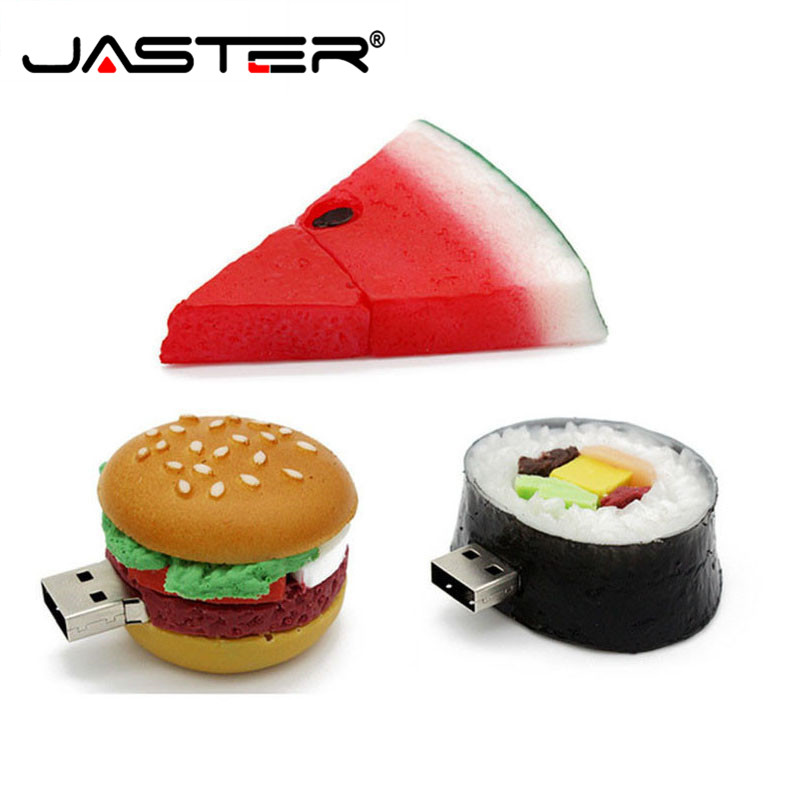 JASTER Hamburger Food Usb 2.0 Flash Drive Creative Sushi Watermelon Pendrive 4GB 8gb 16gb 32gb 64GB Memory Stick U Disk Gift Toy