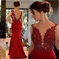 Sexy Largo Rojo de Encaje de Noche Vestidos de Partido para la Boda de la Sirena Backless del Satén Mujeres Formal Vestidos de Noche Vestidos De Desgaste en Venta