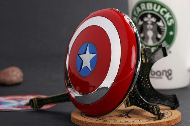 6edc88230435ad New Arrival Cool Portable Power Bank 10000mAh The Avengers Captain America  Shield Charger Mobile Power Supply Free Shipping