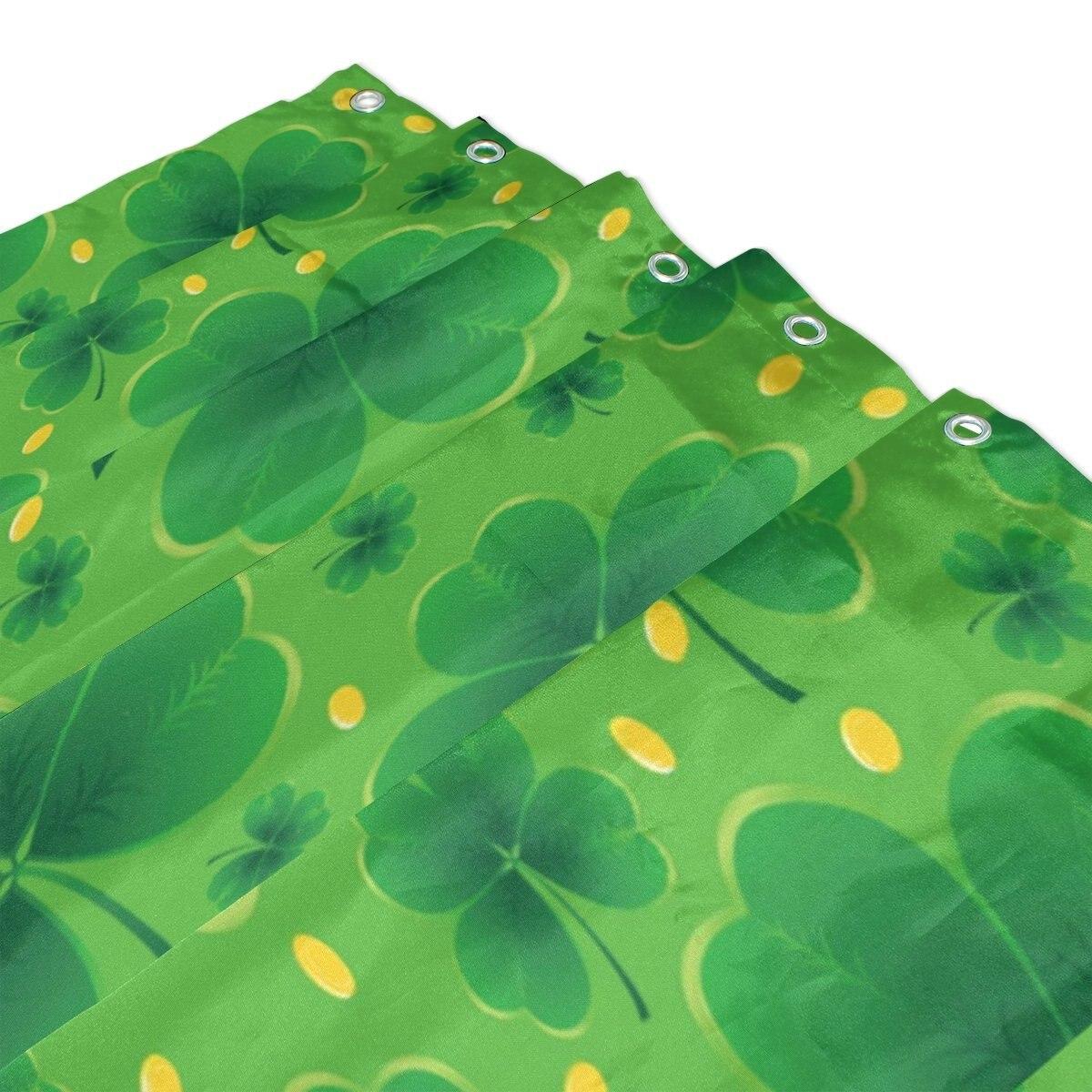 День Святого Патрика душ Шторы и Коврики комплект, счастливый клевер Весна Зеленый лист Водонепроницаемый Ткань Ванная комната Шторы
