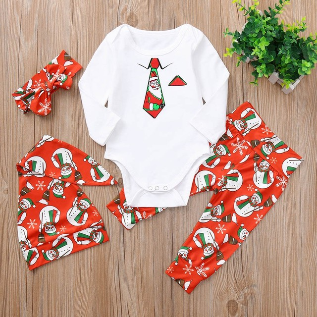 Newborn christmas outfit Necktie Snowman full sleeve O-Neck  Romper+Character Pants+Hat+Headband Set Clothes Baby Boy ropa para - Newborn Christmas Outfit Necktie Snowman Full Sleeve O Neck Romper+