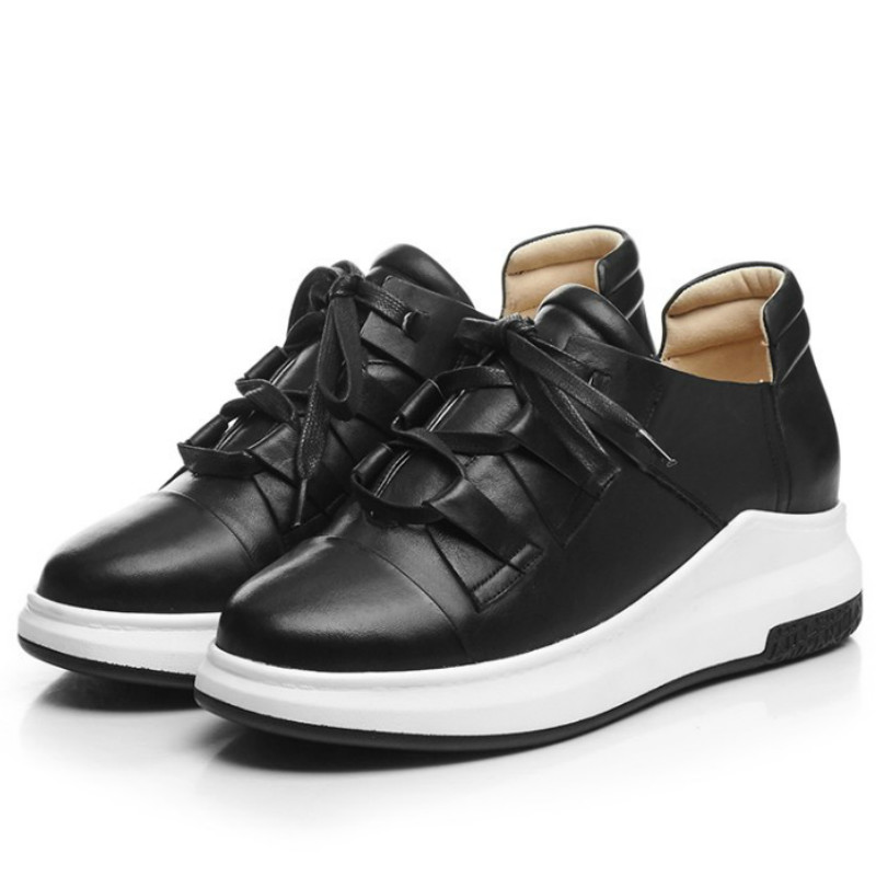 ФОТО top quality real genuine leather women casual flat shoes 2017 black white 4cm platform fashion ladies spring outdoor shoes flats