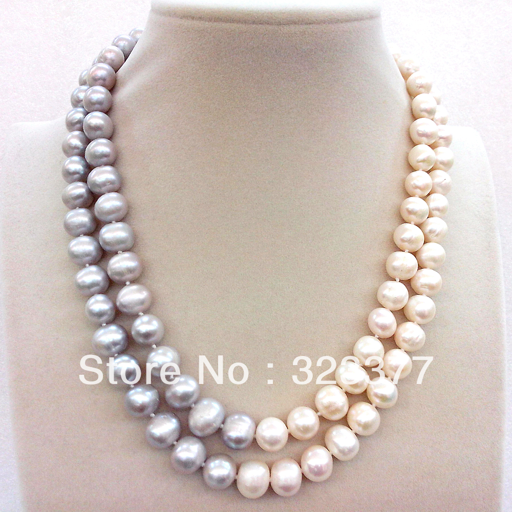 45-48cm Two-strand Natural 9-10MM White And Grey Freshwater Pearl Necklace With A South Sea Shell Carving Flower Clasp