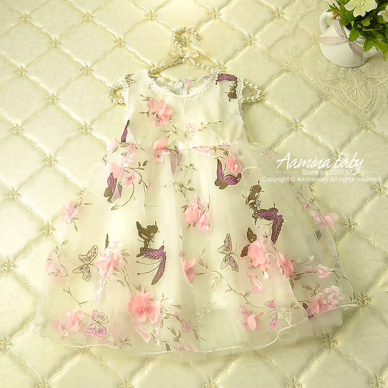 купить Flower Petal Girls Dresses Summer 2017,children Tutu Princess Dresses For Girls,baby Print Girl Party Dress Kids Girls Clothes онлайн