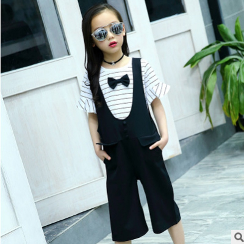 Girls Overalls Clothing Set 2018 New Summer and  Spring Children 's Kids Leisure Bow Clothes Sets 3 Solid Colors Size4-14 ly022 s quire s quire ly b9 3