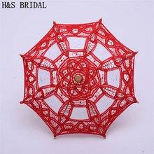 H& S свадебный мини маленький свадебный зонтик винтажный Викторианский красный кружевной зонтик Свадебный Цветок Девушка Вечерние Декор реквизит