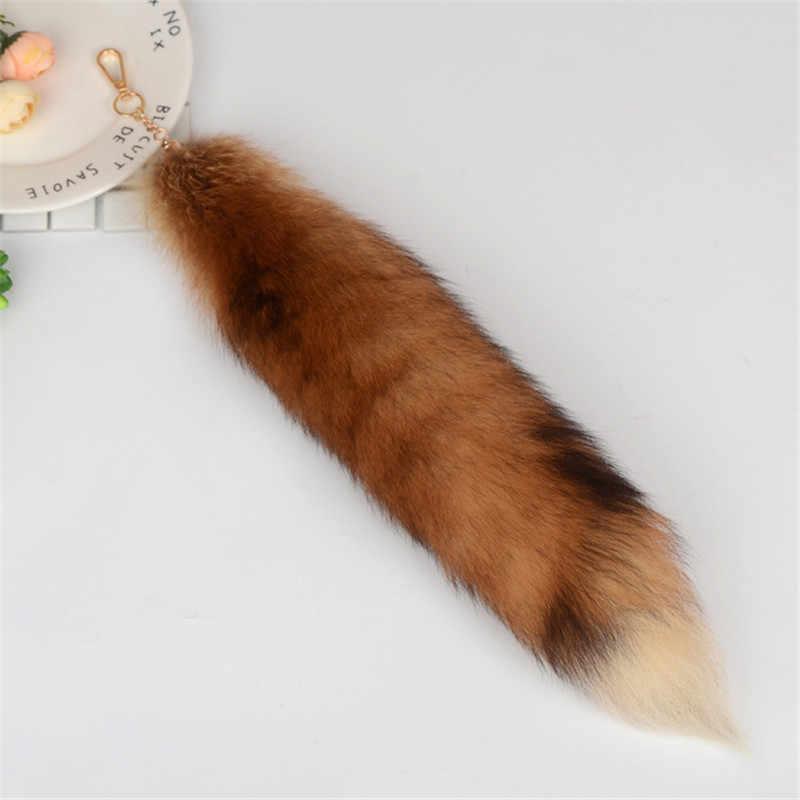 2019 ใหม่ Fox แฟชั่นเครื่องประดับหาง Fox Fur Keychain Big Wolf Tail จี้ Charm Lady กระเป๋า Fur จี้รถพวงกุญแจฯลฯ.