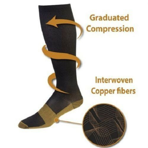 2019 Men's Women's 2019 New Copper Infused Compression Socks 20-30mmHg Graduated Men Women Patchwork Long Socks S-XXL