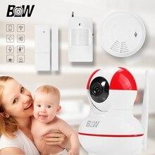 Cámara de seguridad inalámbrica bebé monitor de wifi cámara ip ptz onvif p2p + sensor de puerta/infrarrojos motion sensor y el humo detector bw12r