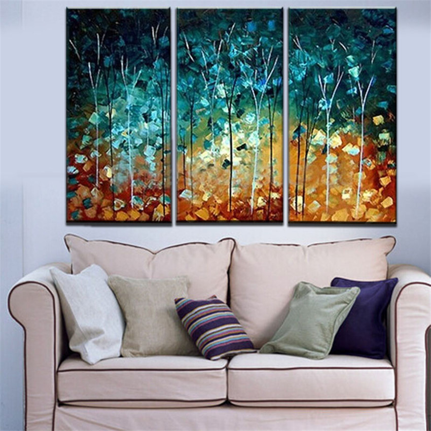 Handmade Painting Trees Large Frameless Paintings Oil Picture 3 Piece  Canvas Wall Art Set Home Decoration Hogar In Painting U0026 Calligraphy From  Home U0026 Garden ...