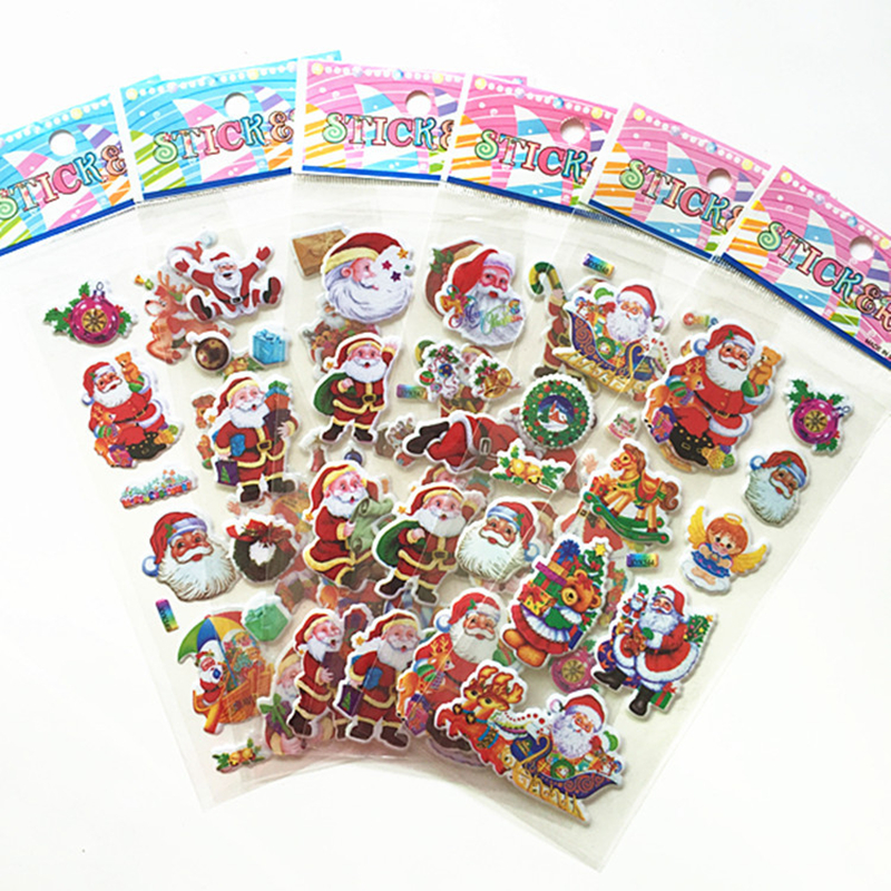 5Pcs Christmas Gift Merry Christmas 3D Bubble Sticker Cartoon Santa Claus Bell Puffy Stickers New Year Xmas Sticky Decor For Kid