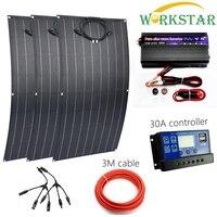 WORKSTAR 3pcs 18V 100W ETFE Flexible Solar Panels Charger for RV/Boat 300w Solar Power System for Beginner 12V Solar Charger
