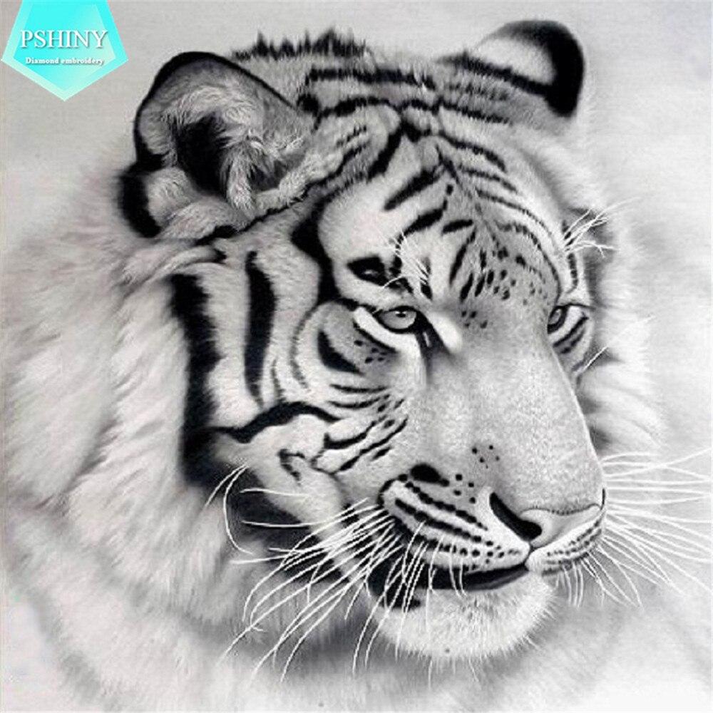схема вышивки картины белый тигр
