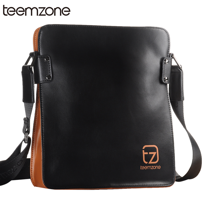 Free Shipping Teemzone Men's Genuine Leather Messenger Shoulder Bag Satchel Cross Body Shoulder Bag IPad Messenger Bag T0758 teemzone men s genuine leather shoulder messenger cross body satchel day fanny zipper waist pack handbag bag wallet s4001